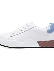preiswerte -Damen Lederschuhe Leder Herbst Winter Sneakers Walking Flacher Absatz Runde Zehe Blau / Rosa