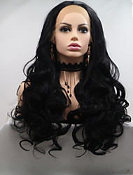 Χαμηλού Κόστους -Συνθετικές μπροστινές περούκες δαντέλας Κυματομορφή Σώματος Μαύρο Κούρεμα με φιλάρισμα Μαύρο 130% Ανθρώπινο πυκνότητα των τριχών Συνθετικά μαλλιά 26 inch Γυναικεία Γυναικεία Μαύρο Περούκα / Ναι