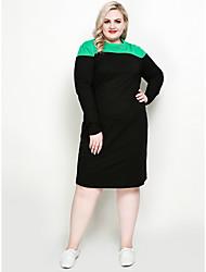 baratos -Mulheres Básico / Moda de Rua Manga Morcego Reto / Camiseta Vestido - Patchwork, Estampa Colorida Altura dos Joelhos Preto e Vermelho