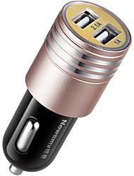 abordables -newmine c20 chargeur de voiture double usb allume-cigare chargeur de voiture smart split or 3.1a