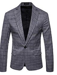 저렴한 -남성용 일상 가을 보통 블레이져, Houndstooth 셔츠 카라 긴 소매 폴리에스테르 푸른 / 그레이 XXL / XXXL / XXXXL