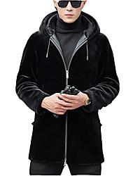 Недорогие -Муж. Повседневные Уличный стиль Обычная Пальто с мехом, Однотонный Капюшон Длинный рукав Шерсть Черный XL / XXL / XXXL