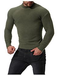 tanie -Męskie Codzienny / Weekend Podstawowy Solidne kolory Długi rękaw Regularny Pulower, Golf Granatowy / Zieleń wojskowa / Jasnoszary L / XL / XXL