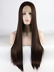 Недорогие -Синтетические кружевные передние парики Жен. Прямой Коричневый Средняя часть 180% Человека Плотность волос Искусственные волосы 16-26 дюймовый Регулируется / Жаропрочная / Эластичный Коричневый Парик