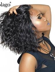 Недорогие -Натуральные волосы Лента спереди Парик Бразильские волосы Естественные кудри Парик Глубокое разделение 130% Плотность волос с детскими волосами Подарок Горячая распродажа Удобный Нейтральный Жен.