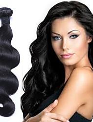 Недорогие -3 Связки Бразильские волосы Естественные кудри Необработанные натуральные волосы Пучок волос 16 дюймовый Естественный цвет Ткет человеческих волос 100% девственница Расширения человеческих волос Жен.