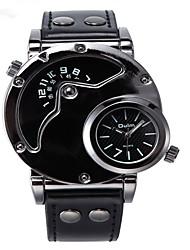 Недорогие -Муж. Спортивные часы Кварцевый Натуральная кожа Черный / Шоколадный С двумя часовыми поясами Повседневные часы Аналого-цифровые На каждый день - Черный Кофейный Черный / Белый