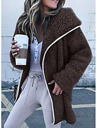 Недорогие -Жен. Повседневные Классический Обычная Куртка, Однотонный Капюшон Длинный рукав Полиэстер Розовый / Бежевый / Серый M / L / XL / Свободный силуэт