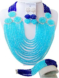 Недорогие -Жен. Многослойный Комплект ювелирных изделий - Австрийские кристаллы Дамы, Мода Включают Струнные ожерелья Синий / Ярко-розовый / Светло-коричневый Назначение Свадьба / Серьги