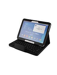 Недорогие -Кейс для Назначение SSamsung Galaxy Tab 4 10.1 с клавиатурой Чехол Однотонный Твердый Кожа PU для Tab 4 10.1