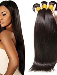Недорогие -3 Связки Прямой Натуральные волосы Необработанные натуральные волосы Человека ткет Волосы Уход за волосами Удлинитель 8-28 дюймовый Естественный цвет Ткет человеческих волос / Шелковые базовые волосы