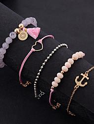Недорогие -5 шт. Жен. Розовый Многослойный Браслеты-цепочки и звенья Браслет цельное кольцо Браслеты из бусин - Резина Сердце Дамы, Этнический, Богемный Браслеты Бижутерия Розовый Назначение