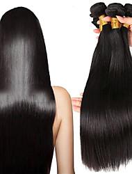 Недорогие -3 Связки Бразильские волосы / Малазийские волосы Прямой Натуральные волосы Подарки / Головные уборы / Человека ткет Волосы 8-28 дюймовый Естественный цвет Ткет человеческих волос Машинное плетение
