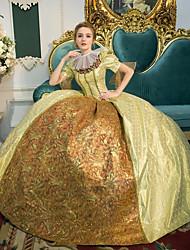 baratos -Princesa rainha Elizabeth Vitoriano Rococó Barroco Renascentista Decote Quadrado Ocasiões Especiais Mulheres Vestidos Roupa Festa a Fantasia Baile de Máscara Dourado Vintage Cosplay Poliéster Manga
