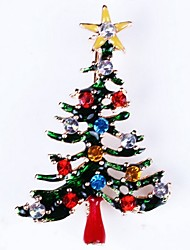 abordables -Femme Broche - Strass Arbre de Noël dames, simple Broche Bijoux Or Pour Noël