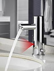 Недорогие -Ванная раковина кран - Датчик Латунь Свободно стоящий Руки свободно одно отверстиеBath Taps