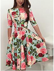 baratos -Mulheres Vintage / Anos 50 / Elegante Calças - Floral Rose, Estampado Azul Claro / Festa / Feriado / Para Noite / Sexy