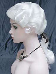 Недорогие -Парики из искусственных волос Волнистый Kardashian Стиль С конским хвостом Без шапочки-основы Парик Белый Белый Искусственные волосы 22 дюймовый Муж. синтетический Белый Парик Длинные