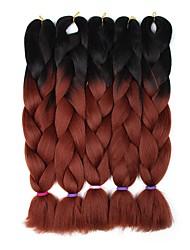 """billiga -Hår till flätning Lockigt Syntetiska utsträckningar Syntetiskt hår 5 delar Hårflätor Mörkgrå / Svart 24 tum 23 1/2""""60 cm syntetisk / Färgskiftande / Heta Försäljning Vardag / Dagliga kläder / Datum"""