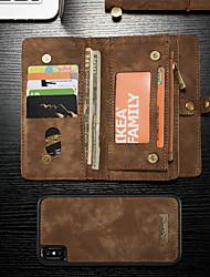 Недорогие -CaseMe Кейс для Назначение Apple iPhone XS Max Кошелек / Бумажник для карт / со стендом Чехол Однотонный Твердый Кожа PU для iPhone XS Max