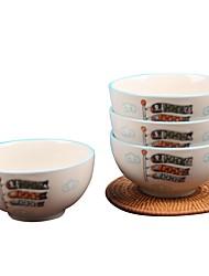 Недорогие -1 комплект 4 шт. Глубокие тарелки Стеклянная посуда Набор для колючей проволоки посуда Фарфор Керамика Животные Очаровательный Heatproof