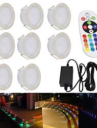 Недорогие -ywxlight® 8 шт. встраиваемый светодиодный прожектор RGB, утопленный солнечный свет, встроенные прожекторы, водонепроницаемые встроенные прожекторы ø55 мм ip67