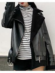 baratos -jaqueta de couro do plutônio das mulheres - sólido colorido peter pan collar
