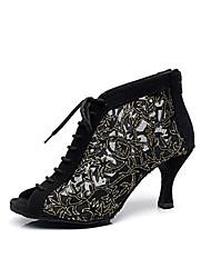 Недорогие -Жен. Обувь для модерна / Бальные танцы Синтетика Ботинки Шнуровка На шпильке Персонализируемая Танцевальная обувь Черный / Кожа