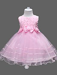 Недорогие -Дети Девочки Милая Цветочный принт Бант / Многослойность Без рукавов Платье