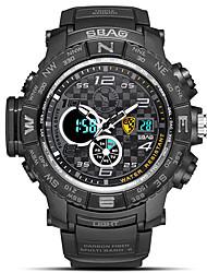 Недорогие -Муж. Спортивные часы электронные часы Японский Цифровой Стеганная ПУ кожа Черный / Синий / Красный 30 m Защита от влаги Календарь Секундомер Аналого-цифровые Блестящие Мода -  / Два года / Хронометр