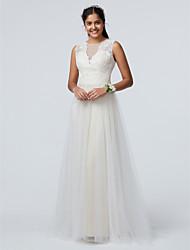 baratos -Linha A Ilusão Decote Longo Renda / Tule Vestido de Madrinha com Renda / Pregas de LAN TING BRIDE® / Brilho & Glitter