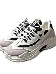 Недорогие -Жен. Синтетика Осень На каждый день Спортивная обувь Беговая обувь На плоской подошве Круглый носок Белый / Черный / Контрастных цветов