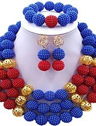 Недорогие -Жен. Многослойность Комплект ювелирных изделий - Мода Включают Струнные ожерелья Коричневый / Розовый / Ярко-розовый Назначение фестиваль