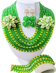 Недорогие -Жен. Многослойный Комплект ювелирных изделий - Австрийские кристаллы Дамы, Мода Включают Струнные ожерелья Зеленый / Ярко-розовый / Светло-коричневый Назначение Свадьба / Серьги