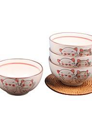 Недорогие -1 комплект 4 шт. Глубокие тарелки Столовые наборы Стеклянная посуда посуда Фарфор Керамика Животные Очаровательный Heatproof