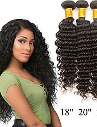 Недорогие -4 Связки Бразильские волосы / Индийские волосы Крупные кудри Натуральные волосы / Необработанные натуральные волосы Подарки / Косплей Костюмы / Человека ткет Волосы 8-28 дюймовый Естественный цвет