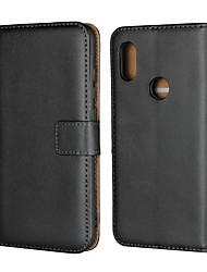 Недорогие -Кейс для Назначение Xiaomi Xiaomi Pocophone F1 / Xiaomi Redmi 6 Pro Кошелек / Бумажник для карт / со стендом Чехол Однотонный Твердый Настоящая кожа для Redmi Note 5A / Xiaomi Redmi Note 5 Pro