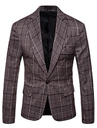 저렴한 -남성용 일상 가을 보통 블레이져, Houndstooth 셔츠 카라 긴 소매 폴리에스테르 다크 그레이 / 밝은 브라운 XXL / XXXL / XXXXL