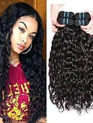 Недорогие -4 Связки Бразильские волосы Волнистые 10A Не подвергавшиеся окрашиванию Удлинитель Накладки из натуральных волос 8-28 дюймовый Естественный цвет Ткет человеческих волос Машинное плетение