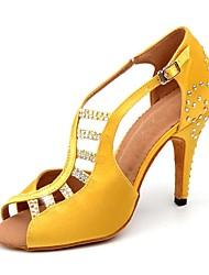 baratos -Mulheres Sapatos de Dança Latina Cetim Sandália / Salto Pedrarias / Presilha Salto Alto Magro Personalizável Sapatos de Dança Amarelo