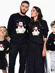 Недорогие -Семейный вид Классический Рождество / Повседневные Животное Длинный рукав Полиэстер Худи / толстовка Черный