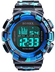 Недорогие -Муж. Спортивные часы электронные часы Цифровой Стеганная ПУ кожа Черный / Белый / Синий 30 m Защита от влаги Календарь Секундомер Цифровой Кольцеобразный Мода - Светло-черный Синия / Черный Синий