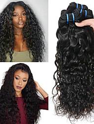 billige -3 Bundler Peruviansk hår Vand Bølge Ubehandlet / Menneskehår Gaver / Cosplay Kostumer / Menneskehår, Bølget 8-28 inch Naturlig Farve Menneskehår Vævninger Maskinproduceret Cosplay / Bedste kvalitet