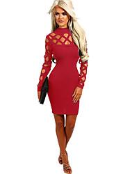 Недорогие -Жен. Элегантный стиль Оболочка Платье - Однотонный Выше колена