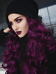 cheap -Synthetic Lace Front Wig Wavy / Deep Wave Purple Free Part Bright Purple 180% Density Synthetic Hair 22-26 inch Women's Classic / Women / Sexy Lady Purple Wig Long Lace Front EEWigs