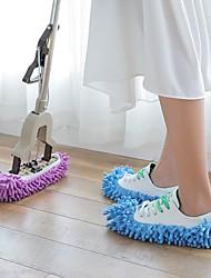 baratos -1 par de poeira mop chinelo casa preguiçoso polimento de piso de limpeza fácil pé sapato meia sapato cor aleatória