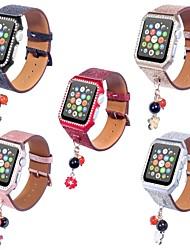 Недорогие -Настоящая кожа Ремешок для часов Ремень для Apple Watch Series 4/3/2/1 Черный / Серебристый металл / Красный 23см / 9 дюйма 2.1cm / 0.83 дюймы