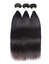 Недорогие -3 Связки Бразильские волосы Прямой 8A Натуральные волосы Удлинитель 8-28 дюймовый Нейтральный Ткет человеческих волос Натуральный Расширения человеческих волос Жен.
