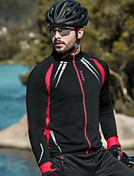 Недорогие -SANTIC Муж. Велокуртки Велоспорт Жакет / Верхняя часть С защитой от ветра, Флисовая подкладка, Сохраняет тепло Однотонный Спандекс, Флис Зима Черный Продвинутый уровень Горные велосипеды