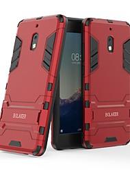 Недорогие -Кейс для Назначение Nokia Nokia 2.1 Защита от удара / со стендом Кейс на заднюю панель Однотонный Твердый ПК для Nokia 2.1